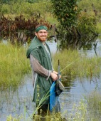 Alex Washburne in flooded crop fields on the lower Tigre